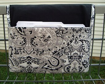 Coupon Organizer / Budget Organizer Holder  / Attaches To You Shopping Cart  Black Gray and Silver Paisley