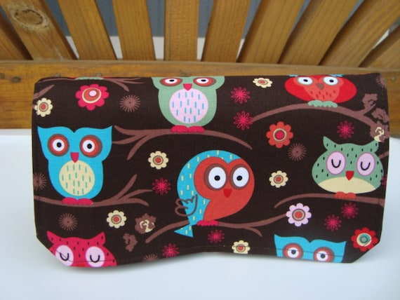 10% OFF -Fabric Coupon Organizer / Budget Organizer Holder - Attaches to Your Shopping Cart -  Owls Sittin In A Tree