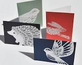 Set of 4 wildlife cards