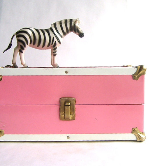 Pink and White Metal Doll Case or Storage Box