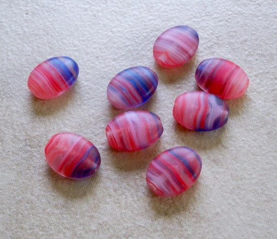 Summer Sale Priced  Pretty Lantern Beads in Oval Stripes  12mm