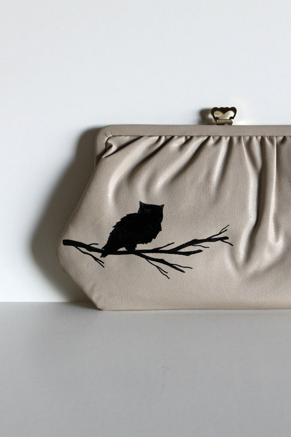 Wise One - VINTAGE grey CLUTCH with hand painted OWL