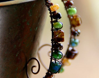 Tropical Mix Picasso Beads Stacked on Hammered Copper Wires Copper Jewelry