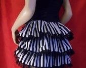 black and white stripe tie on bustle striped bustle skirt burlesque steampunk ruffle ruffles circus halloween goth