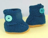 knitting pattern only- Baby One Button Booties (Bootees) Boots pdf download knitting pattern