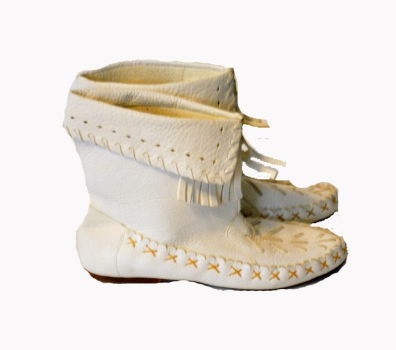 1980s white moccasin booties leather fringe navajo boots by