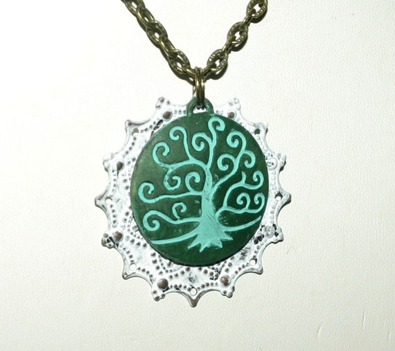 Tree of Life Necklace, Hand Painted, Antique Bronze Necklace, Antique Brass Filigree