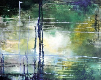 Original Abstract Painting, Abstract Rain Moss Green Forest Colors 16x31""
