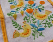 Vintage CREWEL EMBROIDERY Yellow Birds and Flowers Needlework Wall Hanging, Pillow Top
