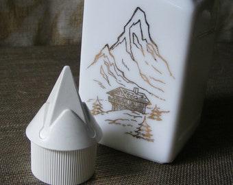 Vintage Milk Glass Liquor Bottle with Gold Alps & Swiss Chalet Design