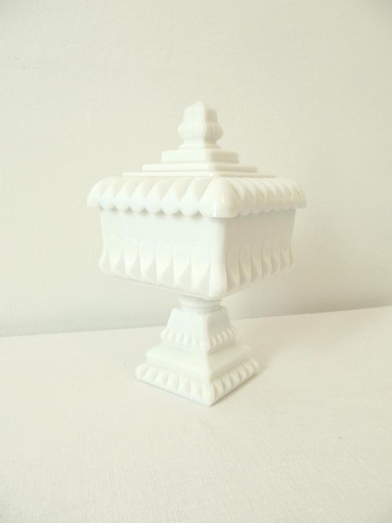 Lovely Vintage Covered Pedestal Milk Glass Dish