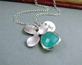 Orchid Necklace, Personalized with Aqua Glass Drop and Custom Initial Letter Necklace - 'Isobella' - Sterling Silver, Wedding Jewelry