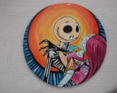 Hand painted personalized Halloween wooden ornament JACK and SALLY Night Before Christmas gift wedding
