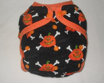 Pumpkin Crossbones Diaper cover ready to ship