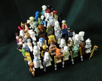 Handcrafted Wooden Star Wars Lego Minifigure Large Pyramid Display Shelf - White with Black 4x4 Legos plates and 4x4 black round turntables
