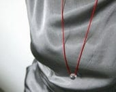 NEW - Minimalist Necklace with Clear Ball Bead - Crystal, Glass, Silk