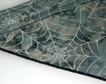 Extra Small  Bandana Halloween velcro closure on grey with silver spider webs