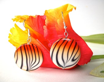 Tiger earrings, animal print jewelry round white orange and black tiger striped shell earrings, silver french hooks