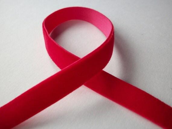"""3 yds red velvet elastic ribbon trim 3 yards 10mm 3/8"""" stretch velvet ribbon for headbands"""