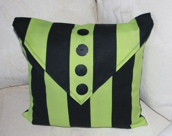 Pillow - Lime Green and Black - Heavy Cotton Material