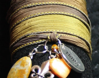 Silk Wrap Bracelet with a peach stone briolette, an acrylic heart, a silver fleur-de-lis and a silver trust charm -wrap around, wrist wrap