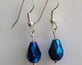 Metallic blue teardrop bead earrings