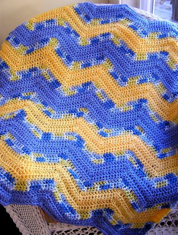 Crochet Zig Zag Afghan : chevron zig zag baby blanket afghan wrap crochet knit lap robe ...