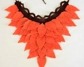 Brown, Red Orange, Pumpkin Coloured, Felt Leaves, Unusual Neck Warmer, Collar, Autumn Fashion
