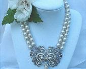 Vintage Edwardian Style Pearl and Rhinestone Medallion Necklace