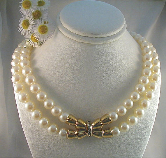 Lustrous Pearls and Goldtone Double Strand Necklace