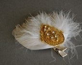 SALE Feather Fascinator with vintage broach