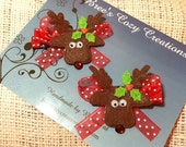 Christmas Hair Bows Rudolph Hair Clips Red Polka Dot Hair Bows with Reindeer