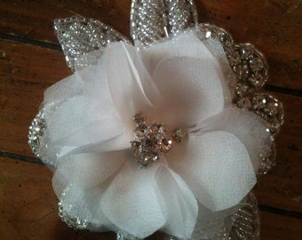 Bridal  Flower Hair Piece, Rhinestone Ivory Peony, Sash, Brooch, Embellishment