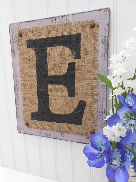 Monogram burlap E, you choose letter, Lilac purple, choice from color swatch, Name Initial sign
