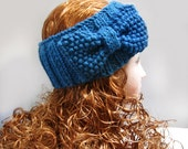 Knitted Headband, Winter Headbands, Headbands For Women, Headbands for Girls, Knit Headband, Bow Headband  Knit Bow Blue