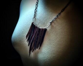 Small Leather Fringe Necklace