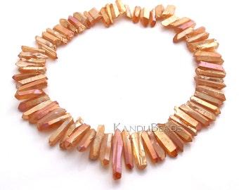 SALE 25% - Peach Orange Pink Mystic Titanium AB Quartz Top Drilled crystal point beads 15-30mm