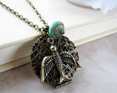 In the sky - Vintage inspired locket necklace