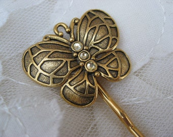 Golden Butterfly Sparkle Crystal Bobby Pin