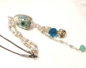 RESERVED  Closing Down Sale LAMPWORK Glass Bead Handmade Pendant SRA Ocean Aquarium Leather and Czech Beads