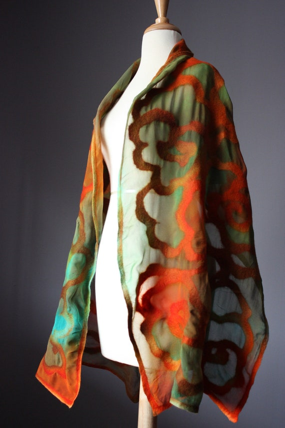 Nuno felted shawl wrap  Orange Green some Brown  wool silk Rose floral design
