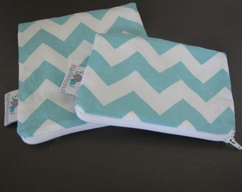 Reusable Machine Washable Zippered BPA-Free Snack-Loc Large Sandwich Small Snack Bag Set - Chevron Aqua Blue