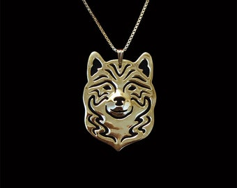 Shiba inu necklace - Gold vermeil (18k gold plated sterling silver) pendant and necklace.