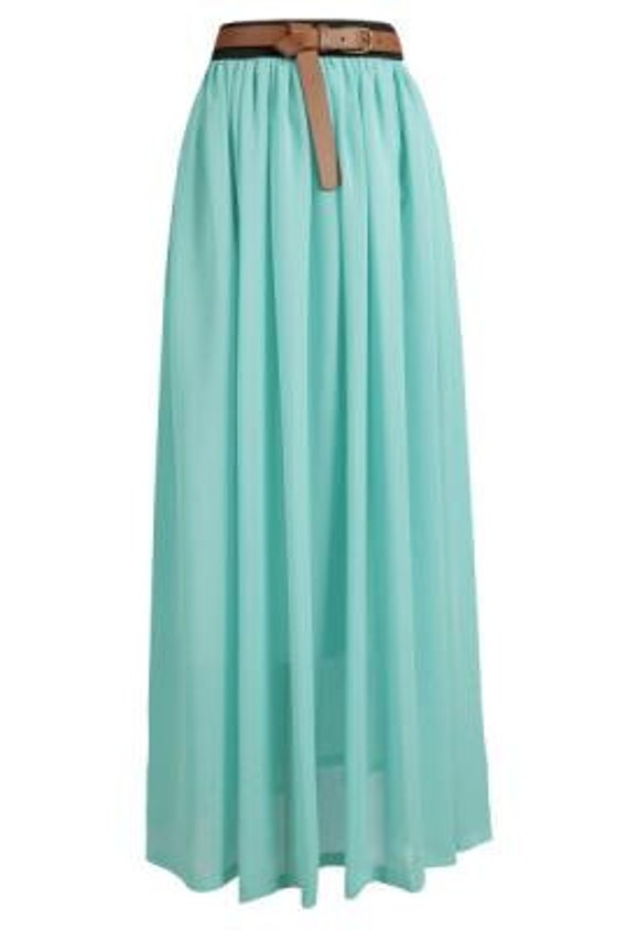 items similar to mint green leila chiffon maxi skirt on etsy