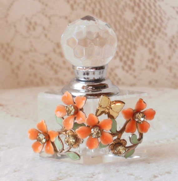 Tangerine Flower Spray Vintage Jewelry Embellished Perfume Bottle