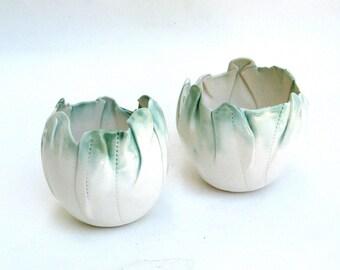 hand built porcelain mini balloon bowls  ...   creamy green