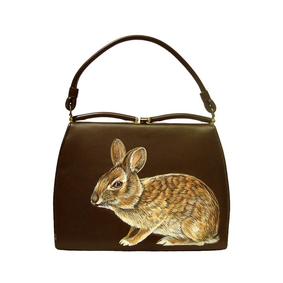 Sale - Marsh Rabbit purse - one of a kind, handpainted by NYhop - vintage brown vinyl 1950's painted handbag - vegan