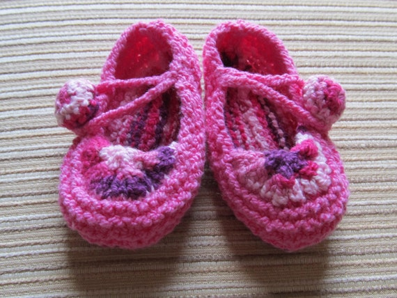 Number 60 KNITTING PATTERN Pink Blush Baby Girl Shoes 0-3, 3-6, 6-9 months