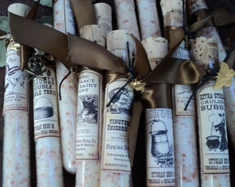 12 HALLOWEEN PARTY FAVORS - bath salt in glass test tubes - poison labels - Trick or Treat - pumpkin coffee scented