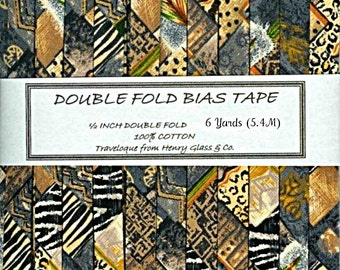 Handmade Double  Fold Bias Tape- Leopard, Zebra, Tiger etc. Safari Print - Available in 1 Yard Sample or 6 Yard packages